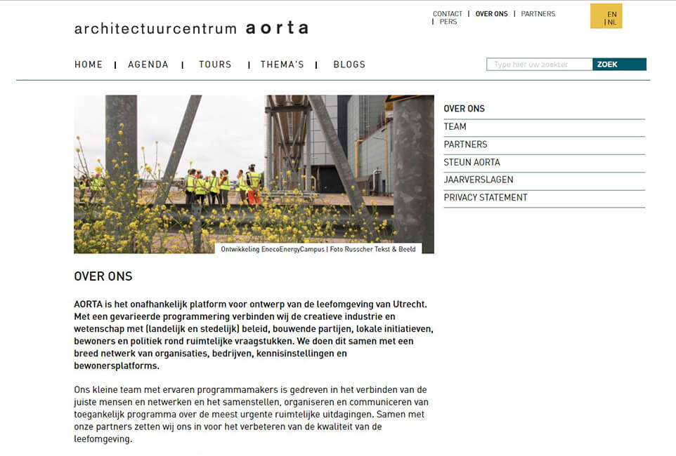 Website Aorta Architectuurcentrum